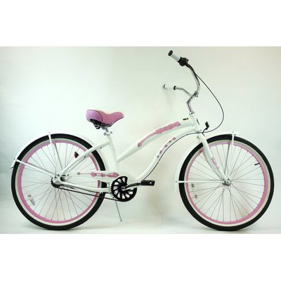Women's 3-Speed Aluminum Beach Cruiser Frame Color: Pearl White with Pink Wheels