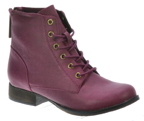 Breckelle Georgia-43, Cute Lace Up W/Zipper Angkle Height Riding/Combat Boot - ON SALE