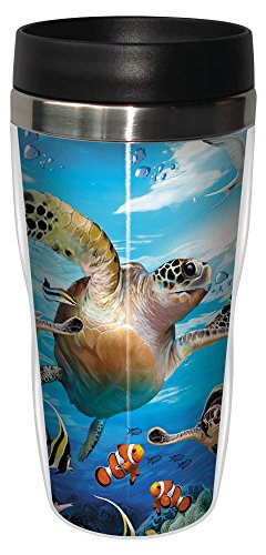 Tree-Free Greetings 25811 Howard Robinson Sea Turtles and Friends Sip 'N Go Stainless Lined Travel Mug, 16-Ounce