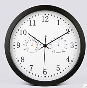 com 12 inches quiet sitting room wall clock temperature and humidity
