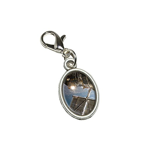Hubble Telescope - Astronomy Space Antiqued Bracelet Pendant Zipper Pull Oval Charm With Lobster Clasp