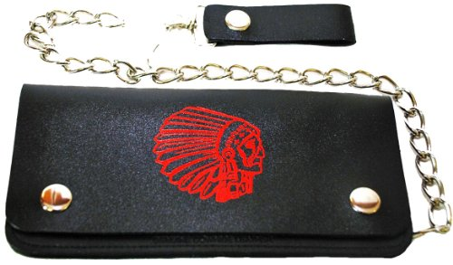 "Genuine Handcrafted Leather Wallet With Steel Chain, Indian Chief'S Head 6"" Long"