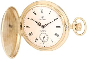 Catorex Men's 171.6.1645.410 Les Breuleux 18k Etched Brass White Textured Dial Pocket Watch