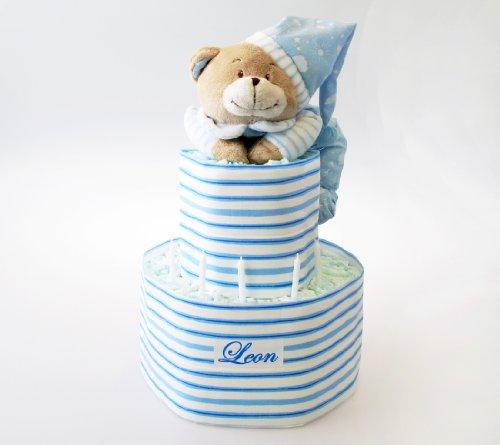 Windeltorte, blau XXL mit NAMEN und Spieluhr Bär, Geschenk zur Geburt, Geschenk zur Taufe o. Babyshower, personalisiert