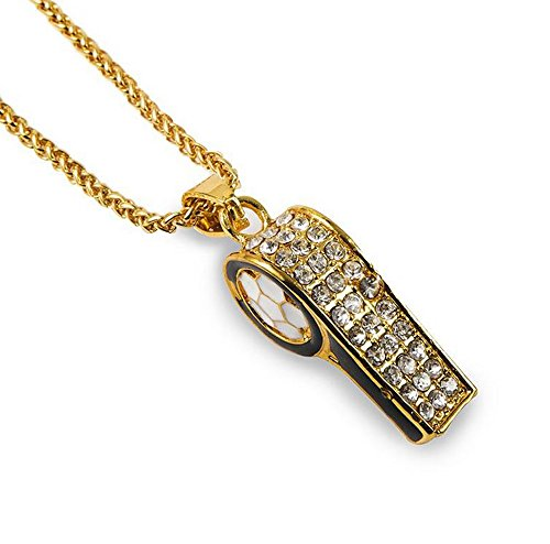 Grenf Fashion 18k Gold Plated Mens Rhinestone Whistle Necklace with 30