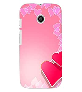 ColourCraft Love Hearts Design Back Case Cover for MOTOROLA MOTO E