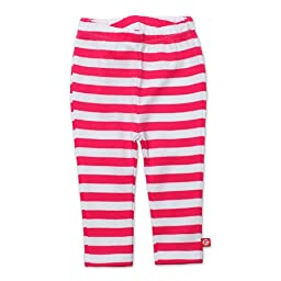 Zutano Baby Girls\' Primary Stripe Skinny Legging, Fuchsia/White, 24 Months