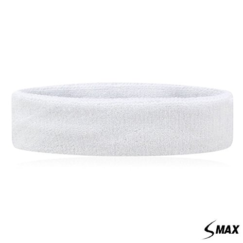 SMax Sportline Hauptband, Frottee-Stirnband, Fitness-Workout-Yoga-Übung & Fitness (weiß)
