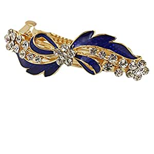 Uxcell Metal Rhinestone Decor Blue Bowknot Hairclip Barrette, Gold Tone, 0.06 Pound