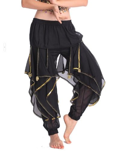 (9 colors for choosing) Belly Dance Rotate Exotic Tarantella Harem Pants Bloomers Golden Edge Wave Sequins Chiffon(Black) (Sequin Harem Pants compare prices)