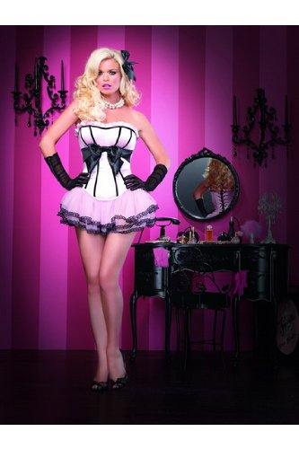 Sexy Adult Womens Lingerie The Brooke Corset,Padded Satin Silhouette W/Metal Boning Large Pink/Black Leg Avenue By Fenvy
