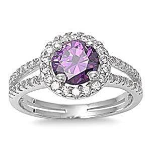925 Sterling Silver Rhodium-plated Amethyst /& White Topaz Fancy Ring Band Size 6-8