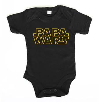 ::: PAPA WARS ::: Baby Body, Schwarz/Gelb, Größe 0-3 Monate