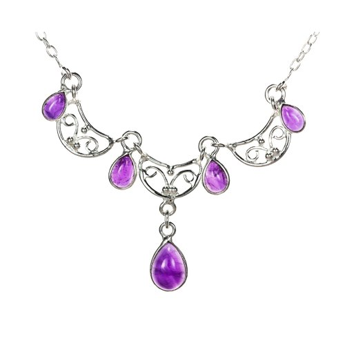 Ladies' Amethyst Necklace, Silver Chain, 40.5cm