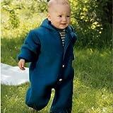 Baby Overall, 100% Schurwolle Fleece, Engel Natur, Gr. 74/80, Ocean