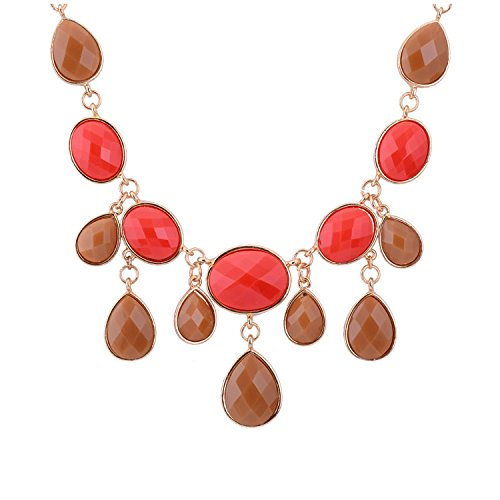 Real Spark Womens Classical Bubble Style Multi Pendant Tassels Princess Statement Chunky Necklace Pink