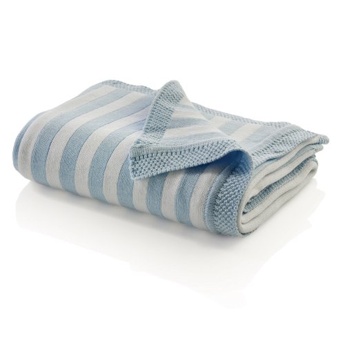 Elegant Baby Cotton Striped Reversible Blanket - Pastel Blue/White