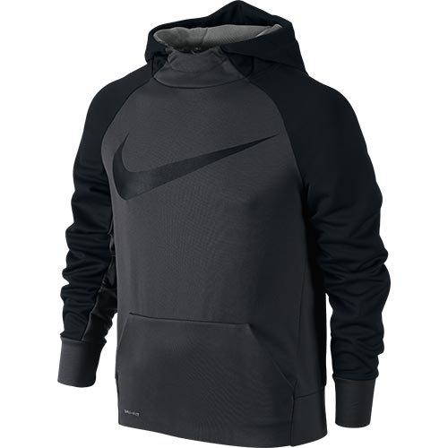 Nike B Nk Thrma Po Felpa con Cappuccio, Anthracite/Nero, L