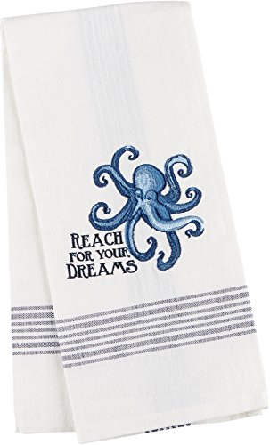 Reach For Your Dreams Octopus Embroidered Tea Towel