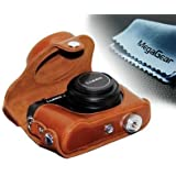 "MegaGear ""Ever Ready"" Protective Light Brown Leather Camera Case, Bag for Panasonic Lumix Lx7"