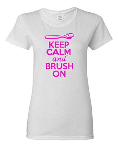 Ladies Keep Calm And Brush On T-Shirt Tee (Small, White w/ NeonPink) (Groom On A Broom compare prices)