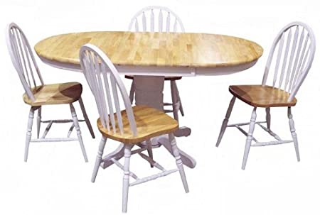 TMS 5 Piece Farmhouse Dining Set, white/natural