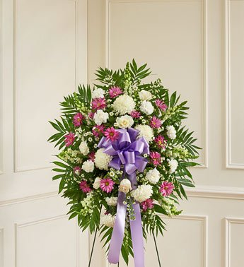 1-800-Flowers – Deepest Sympathies Lavender & White Standing Spray – Small