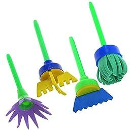 BCP 4pcs Assorted pattern Children\'s Art Craft Mini Flower Sponge Painting Brushes
