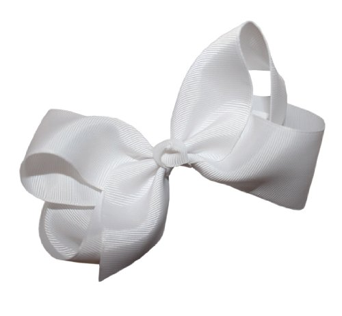Webb Direct 2U Girls Xl Grosgrain Knot Hair Bow Alligator Clip White (1092A) front-983899
