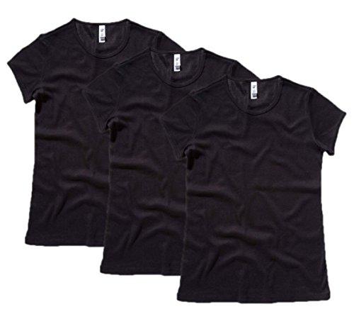 Womens 3 Pack Bella Canvas Baby Rib Short Sleeve Crew Neck T-Shirt