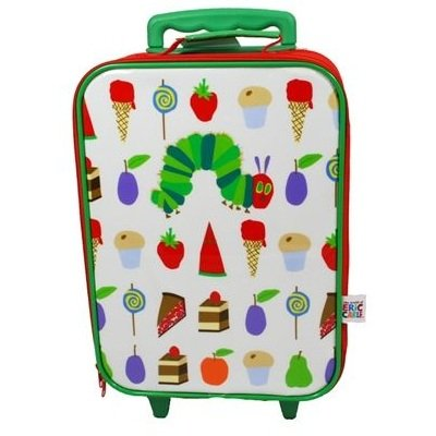 Very Hungry Caterpillar Box Style Wheeled Bag,green Retractable Handle, Food Pictures,white, Caterpillar Picture On Front from Trade Mark Collections