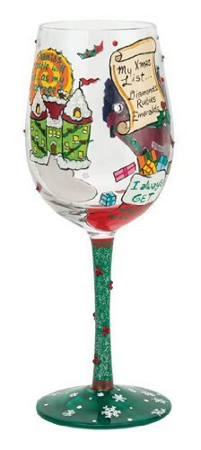 Santa Barbara Design Studio GLS11-5529B Lolita Love My Wine Hand Painted Glass, Christmas Princess