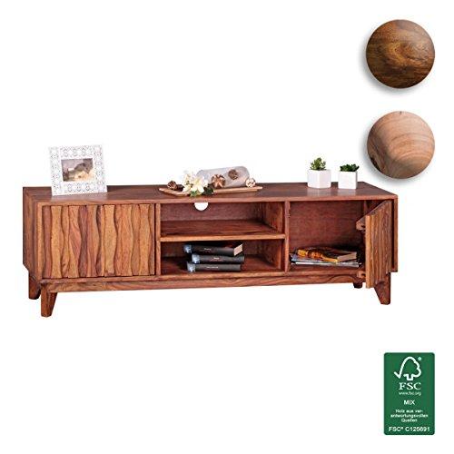 FineBuy-Lowboard-Massivholz-Sheesham-Kommode-146cm-TV-Board-2-Fcher-und-Tren-Landhaus-Stil-Unterschrank-TV-Mbel-Echt-Holz-Hifi-Rack-60cm-hoch-Sideboard-tief-Deko-Fernsehschrank-offen-Natur-Produkt