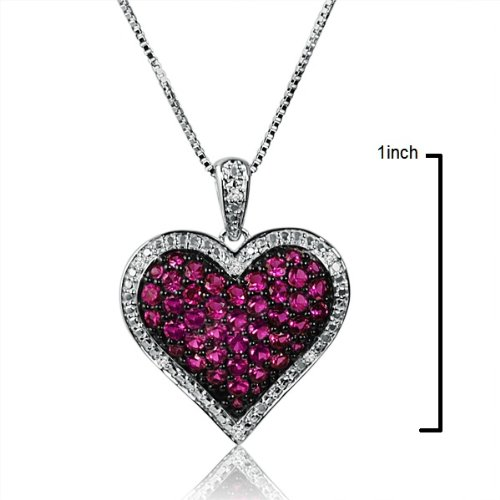 Created Ruby and Diamond Puffed Heart Pendant- Necklace in Sterling Silver on an 18 inch Box Chain