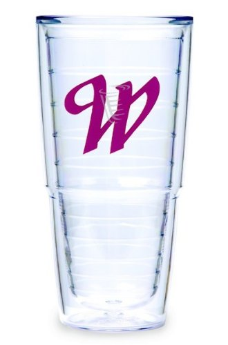 Tervis Tumbler Fuchsia Laser Twill Initial - W 24-Ounce Double Wall Insulated Tumbler Set Of 2 front-948490