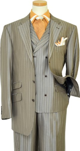 Extrema Metallic Grey With Silver Grey / Apricot Pinstripes Super 140's Wool Vested Suit HA00205 (44L)