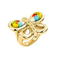 Gold Plated Multi Color Millefiori Electroform Butterfly Animal Sterling Silver 925 Ring
