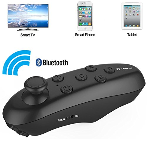 VR Glasses Bluetooth Remote Controller, Kasonic Wireless Support Virtual Reality Headset Glasses for Iphone,Samsung,IOS or Android Smartphones