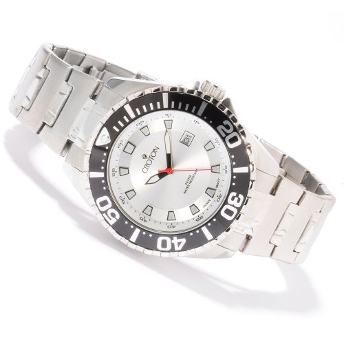 Croton Men's Quartz Stainless Steel Bracelet Silver 44mm Dial 20 ATM Watch CA301228SSSL