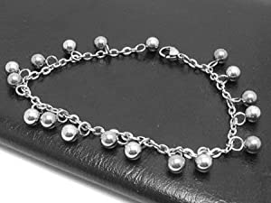 Ball Charm Stainless Steel Anklet Bracelet (25 cm Long)Jingle bells are solid balls