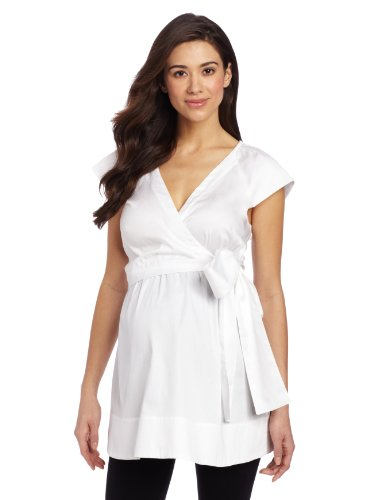 Ingrid & Isabel Women'S Maternity Faux Wrap Shirt, Bright White, Small front-1036042