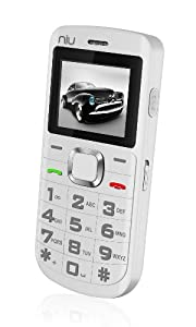 NIU Domo 2 N202 Unlocked GSM Phone with Dual SIM, 1.3MP Camera, Bluetooth, FM Radio, Music/Video Player, Social Networking, Flashlight and microSD Slot - White