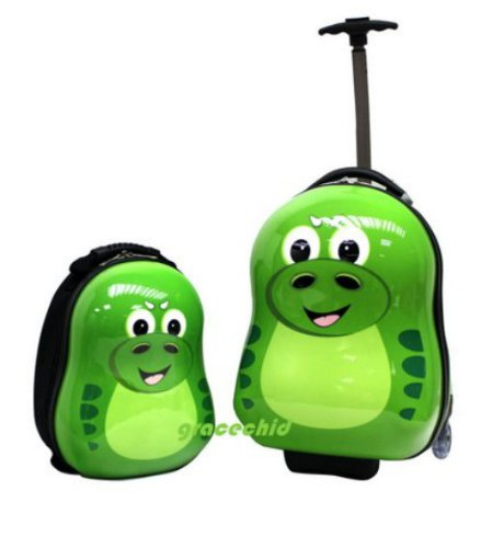 CUTIES AND PALS KIDS BOY GIRL TRAVEL 17″ TROLLEY LUGGAGE + 13″ BACKPACK – DINOSAUR