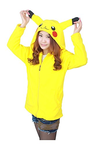 LATH.PIN Pikachu Hoodie Sweater Jacket Cartoon Animal Unisex Cosplay Costume (Large, Pikachu)
