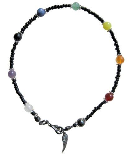~ 9 CHAKRA BLACK ~ HANDCRAFTED GEMSTONE BEADED ANKLET ANKLE CHAIN ANKLE BRACELET 10.5