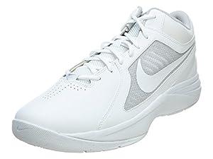 Nike Men's The Overplay VIII White/White/Metallic Silver Basketball Shoe 8 Men US