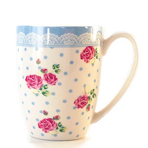 Tasse, Becher für Kaffee oder Tee, blaue Punkte mit Rosen, 250ml