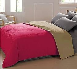 AURAVE Reversible Style Solid Plain Magenta & Khaki Cotton Duvet Cover/ Quilt Cover -Single Size (Gift Wrapped)