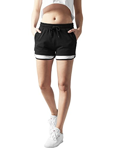Urban Classics Ladies Terry Mesh Hotpants, Shorts Donna, Mehrfarbig (Blk/Wht 50), 48