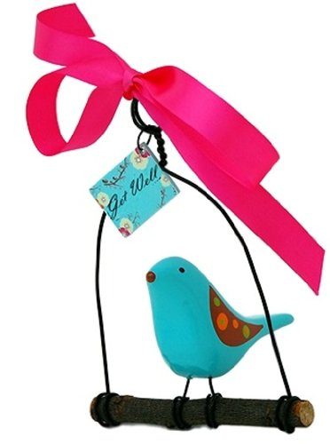 Rosso's International WB9 Bird on a Swing Get Well Birdhouse Ornament, 4 by 3 by 6-Inch, Set of 3